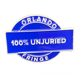 Blue enamel pin reading 100% unjuried