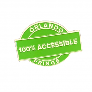 Green Enamel pin that reads 100% Accessible