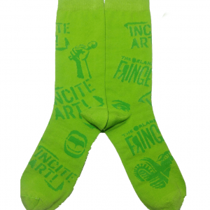 Green socks with green fringe logos, the words incite art and icons