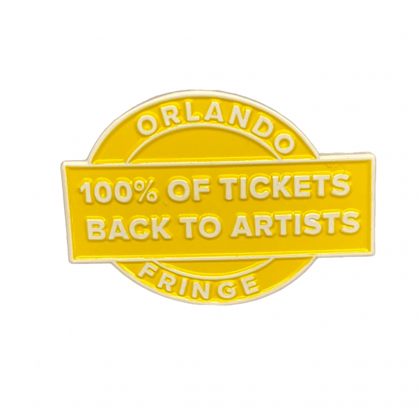 Yellow Enamel Pin reading 100% of Tickets back to artists